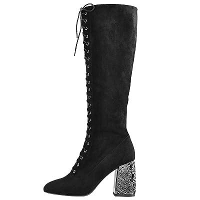 Onlymaker Womens Block Heel Lace Up Knee High Boots Engraved Chunky Heel Below The Knee Booties Zip Up   Knee-High