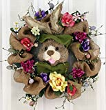 Hoppin' Burlap Bunny Silk Easter Wreath 22 inch -Handcrafted With Beautiful Silks-