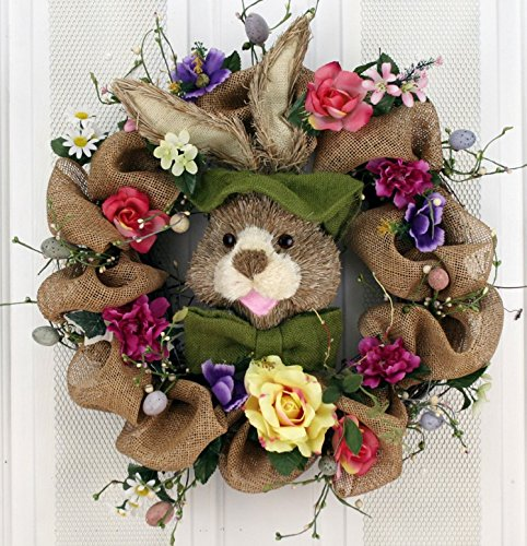Hoppin' Burlap Bunny Silk Easter Wreath 22 inch -Handcrafted