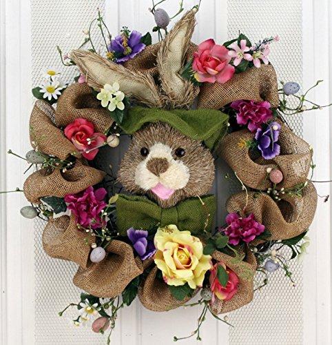 Hoppin' Burlap Bunny Silk Easter Wreath 22 inch -Handcrafted