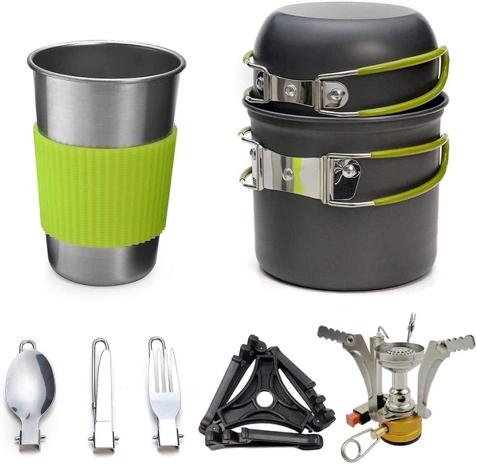 Heerda Camping Mess Kit Aleaci/ón de Aluminio Outdoor Camping Trip Utensilios de Cocina Camping Pot Senderismo Picnic Vajilla tur/ística Set