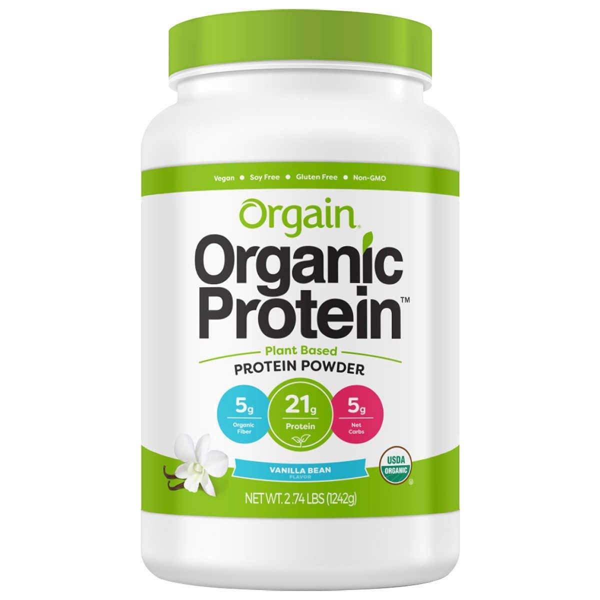 Orgain Organic Plant Based Protein Powder, Vegan, Non-GMO, Gluten Free, 1 Count, Packaging May Vary (Vanilla Bean, 2.74 Pound)