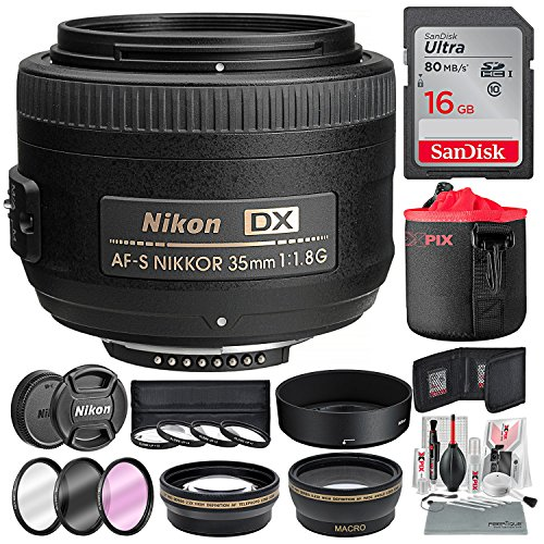 Nikon AF-S DX NIKKOR 35mm f/1.8G Lens, Platinum Accessory Bundle W/52mm Wide-angle & Telephoto Lens + Filters + Lens Pouch + 16 GB SD Card + Xpix Professional Handling (Camcorder 52 Mm Lens)