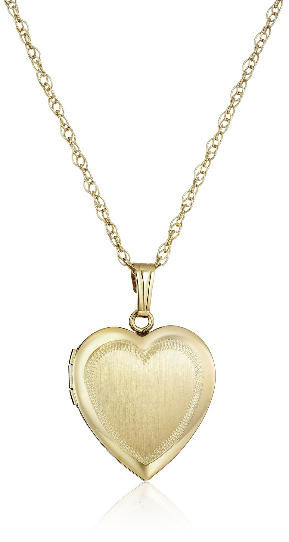 14k Yellow Gold-Filled Engraved Heart Locket Necklace, 18''