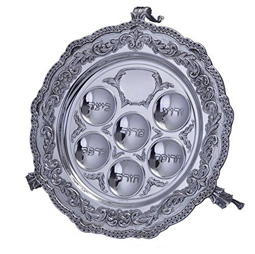 Hazorfim Marta Seder Plate With Legs Passover Pesach sterling silver judaica Israel Jerusalem Holy land gift .925 925 seder Jewish holiday hatzorfim by Hazorfim