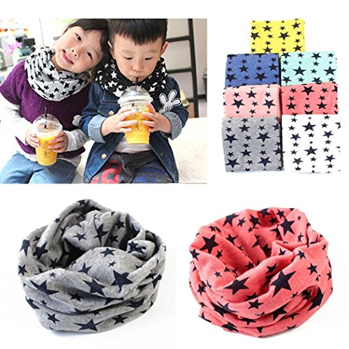 KOKOBUY Kids Long Warm Stars Printed Snood Outdoor Neck Warmer Baby Scarves Wraps Best Christmas Gift for Children