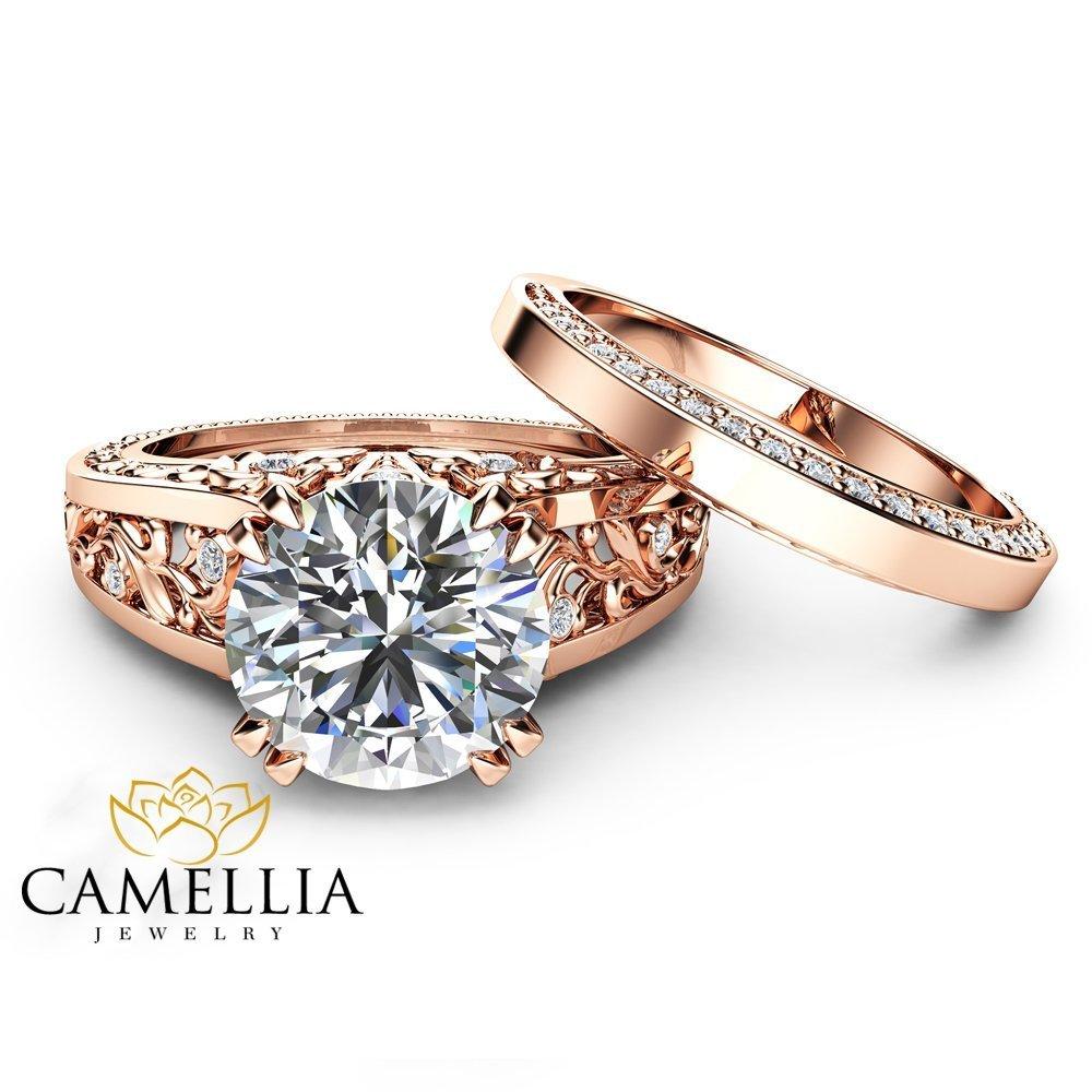 Amazon Com 14k Rose Gold Moissanite Engagement Ring Set Unique 2