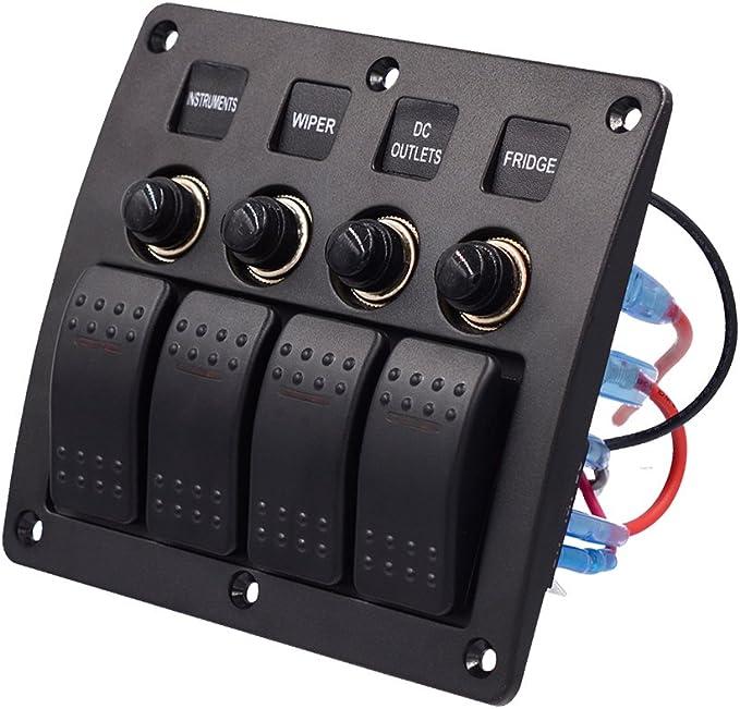 SixDu Imperm/éable /À Leau 4 Gang 12-24 V De Voiture Marine Marine RV Interrupteur /À Bascule Panneau Disjoncteurs Chargeur Protection Contre La Surcharge Rouge LED