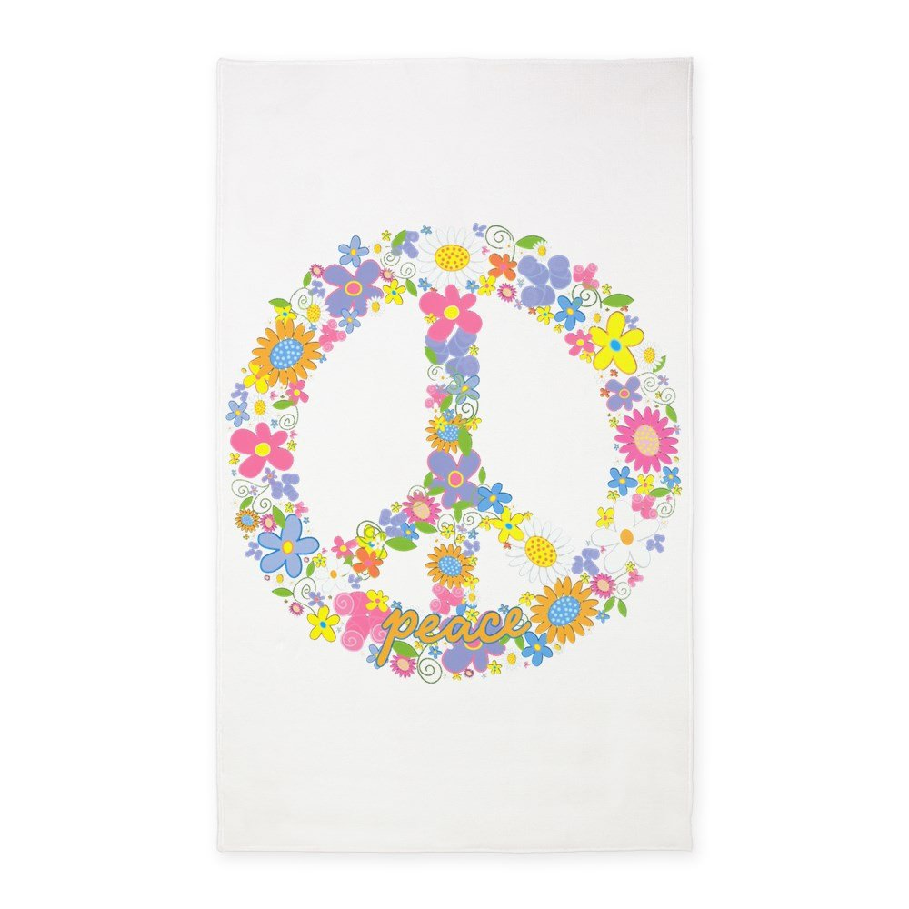3' x 5' Area Rug Floral Peace Symbol Sign