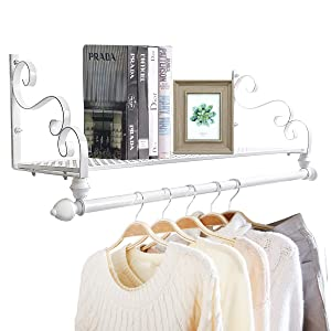 """Nicheo Storage Wrought Iron Coat Rack Shelf Wall Mounted, Hanging Closet with Clothing Rods, Garment Hanger for Daily Clothes, Hat, Bag and More. Ideal Organizer for House (31.5"""", White)"""