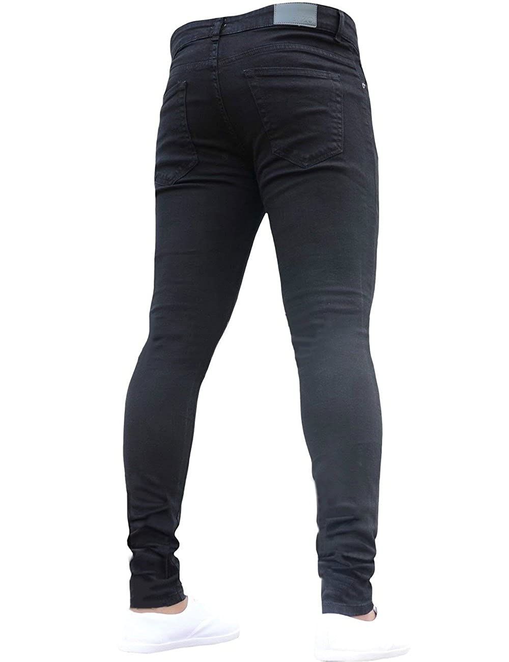 new products for hot-selling discount on feet images of SOMTHRON Men's Stretchy Slim Fit Denim Joggers Jeans Low Rise Long Skinny  Cotton Denim Jeans Pants