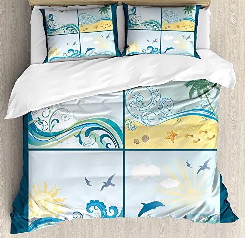 Beach 4 Piece Bedding Set Twin Size, Maritime Themed Frames with Waves Sun Trees Dolphins Birds Exotic Sea Pattern, Duvet Cover Set Quilt Bedspread for Childrens/Kids/Teens/Adults, Blue Beige ()