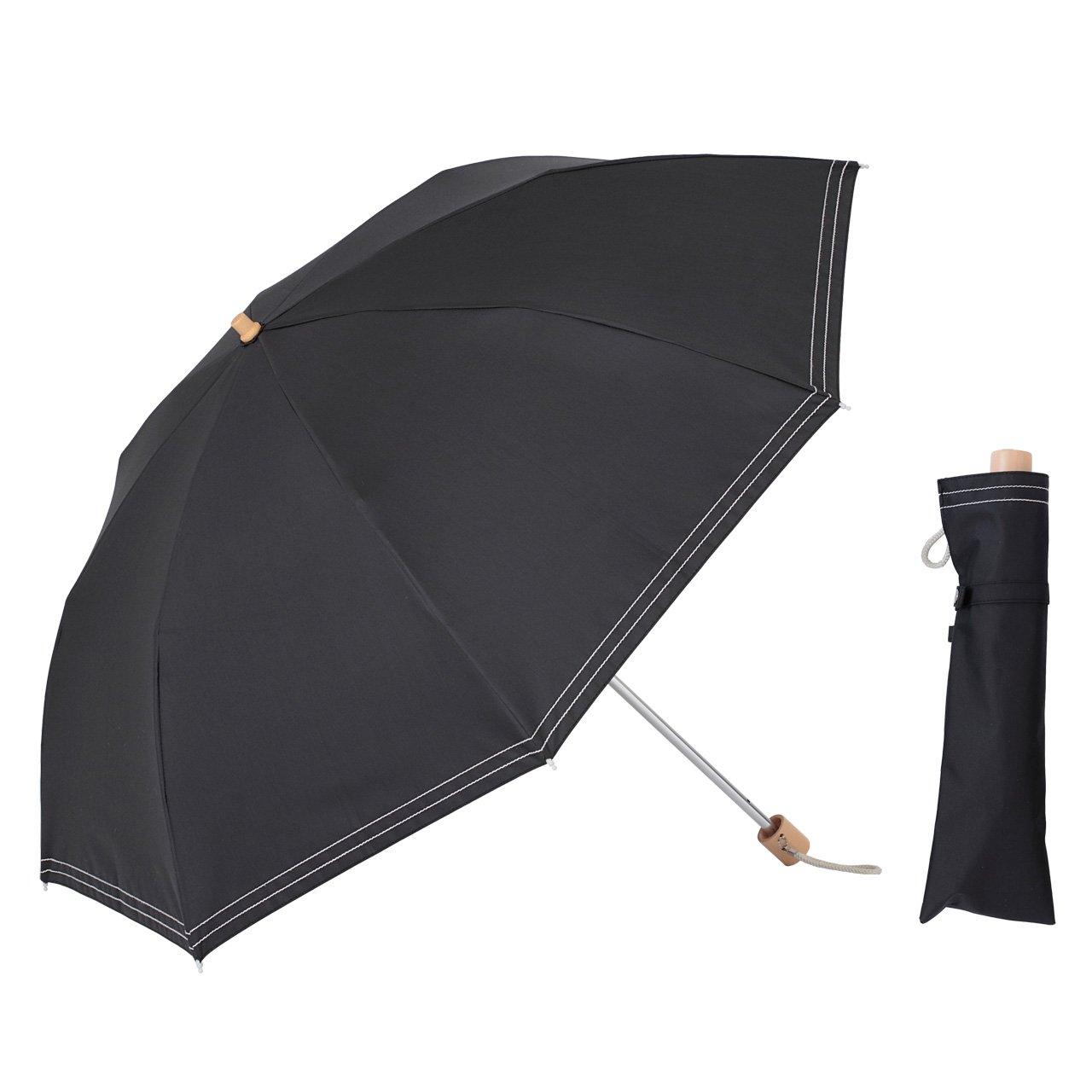 UVカット 遮光折傘 クールプラス ステッチ 晴雨兼用 50cm 日傘 ラミネート生地【LIEBEN-0527】 (ブラック) B07BKWG4TZ ブラック ブラック