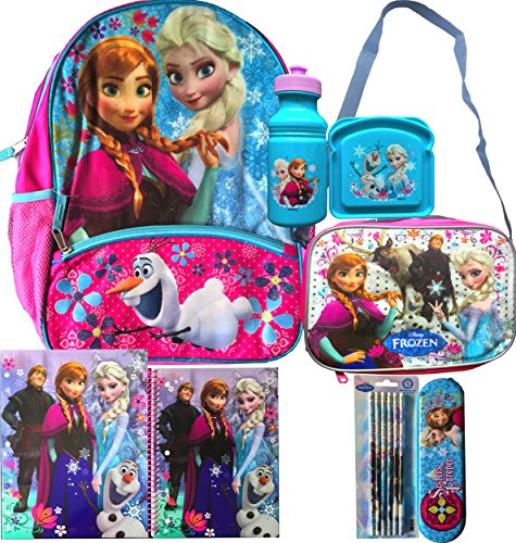Frozen Anna, Elsa and Olaf Backpack with Shoulder Strap Lunch Box,water Bottle, Sandwich Container, Frozen School Supplies Folder and Spiral Notebook with Pencil Set and Pencil Case