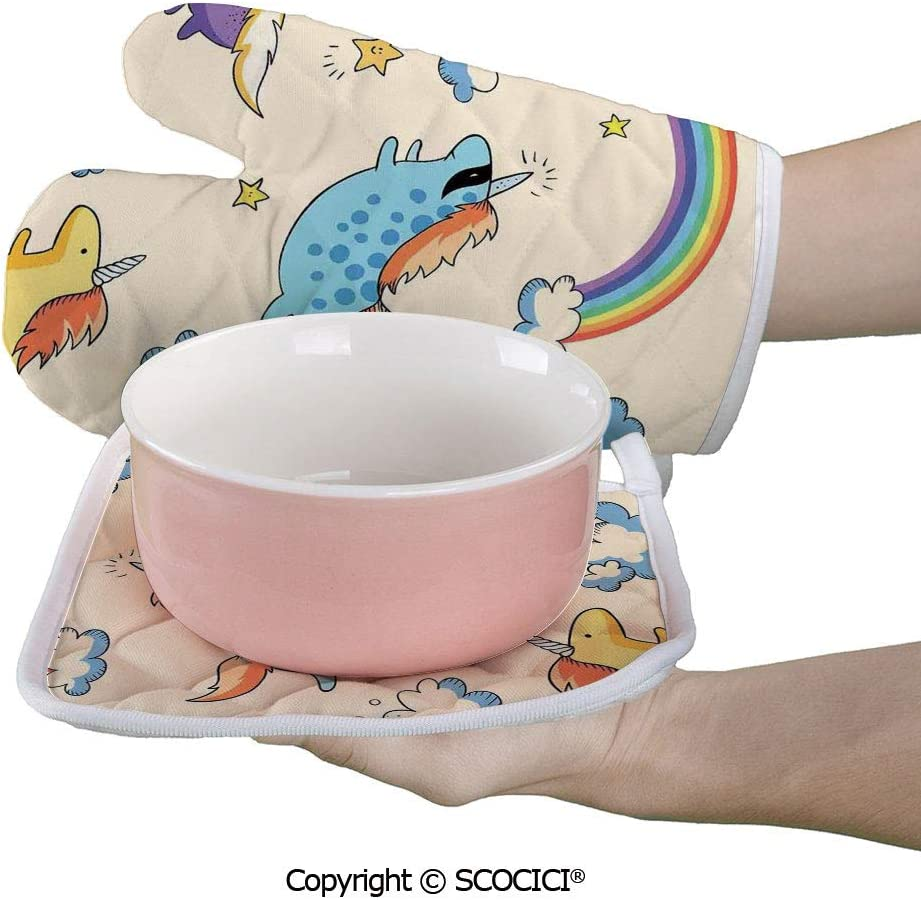 SCOCICI Oven Mitts Glove - Pastel Colored Illustration of Several Flying Pony Baby Ponys in The Air Heat Resistant, Handle Hot Oven Cooking Items Safely
