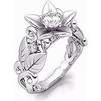 REGOU Cubic Zirconia Engagement Ring Women's Vintage Wedding Ring Flower Bridal Eternity Rings