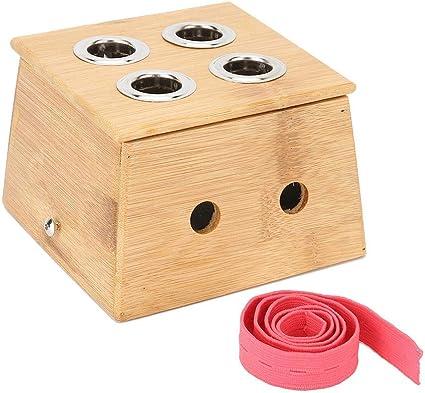 Caja De Moxibustión De 4 Agujeros, Caja De Soporte De Palo De Bambú Moxa Herramienta De Masaje Corporal Aplicable Para Diferentes Palos De Moxa De Espesor: Amazon.es: Belleza