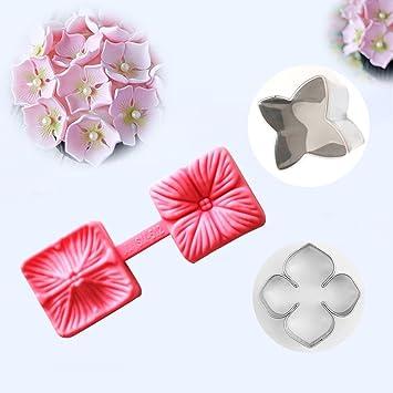 RoHydrangea - Molde de silicona con diseño de pétalos de flores, para fondant, azúcar, pasta o pasta de azúcar: Amazon.es: Hogar