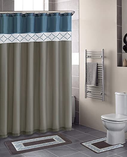 New Beige Blue Diamonds, Contemporary Bath Shower Curtain 15 Pcs Modern  Bathroom Rug Mat Contour