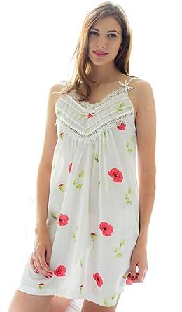 Cottonreal Lamar Poppy Design Cotton Strappy Nightdress ~ X S to X X L (X  Large) 0000aebb1b83