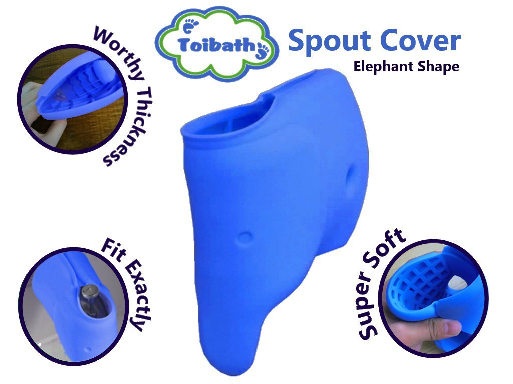 Baby Bath Spout Cover Indigo Blue | Child Bathroom Safety Faucet Cover 4 mom's | Infant and Toddlers Elephant Shape Bathtub Cover Bath Toys for Kids | Silicone Mildew Free