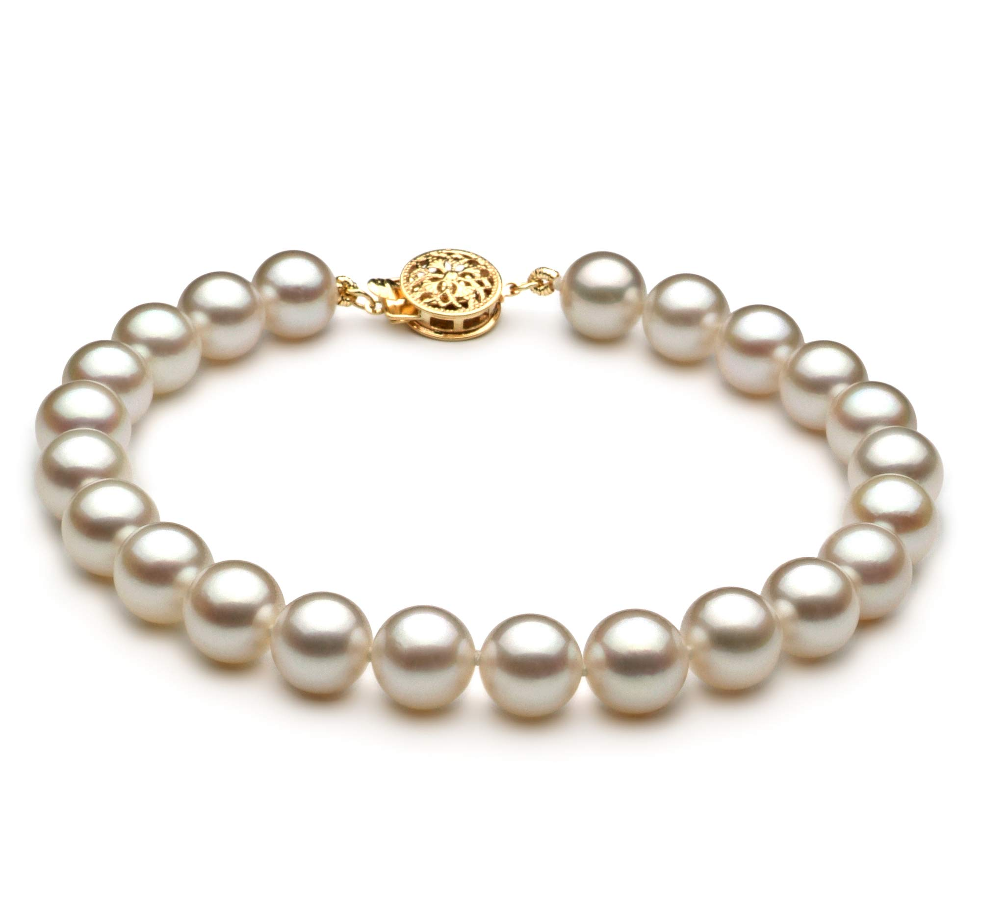 White 7.5-8mm AAA Quality Japanese Akoya Cultured Pearl Bracelet for Women-7 in Length