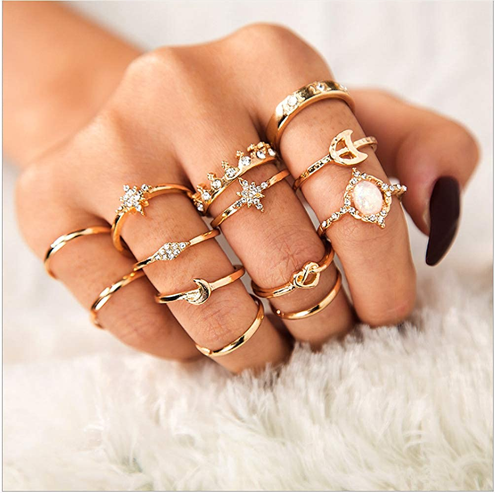 Sither 13 Pcs Women Rings Set Knuckle Rings Gold Bohemian Rings for Girls Vintage Gem Crystal Rings Joint Knot Ring Sets for Teens Party Daily Fesvital Jewelry Gift(style3)