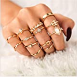 Cathercing Women Bohemian Knuckle Carved Flower Ring Vintage Silver Crystal Joint Knot Ring Set for Women and Girls Prom…