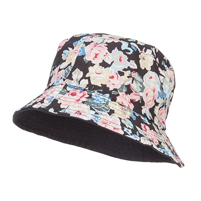 0013862f7b1 SS Hat Reversible Floral Design Bucket Hat - Black OSFM at Amazon ...