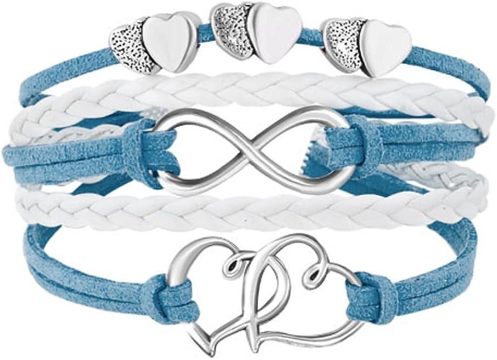 Pulsera de cordón de cuero con doble corazón como símbolo del infinito de Uniqueen