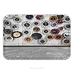 Flannel Microfiber Non-slip Rubber Backing Soft Absorbent Doormat Mat Rug Carpet Retro Clocks On The Wall 83200543 for Indoor/Outdoor/Bathroom/Kitchen/Workstations