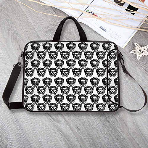 "Black and White Anti-Seismic Neoprene Laptop Bag,Monochrome Medieval Knocker Old Antique Figure Head Cartouche Gothic Theme Laptop Bag for Travel Office School,15.4""L x 11""W x 0.8""H"