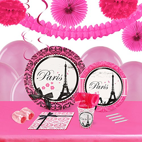 Paris Damask Childrens Birthday Party Supplies - Tableware and Decoration Pack (16) ()