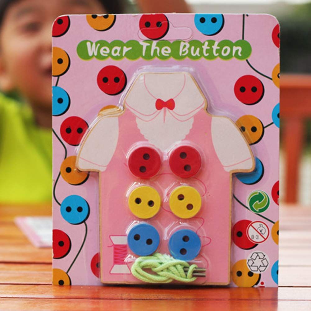 potato001 Kids Children Wooden Sew-on Buttons Lacing Board Toddler Early Education Toy Green by potato001 (Image #3)