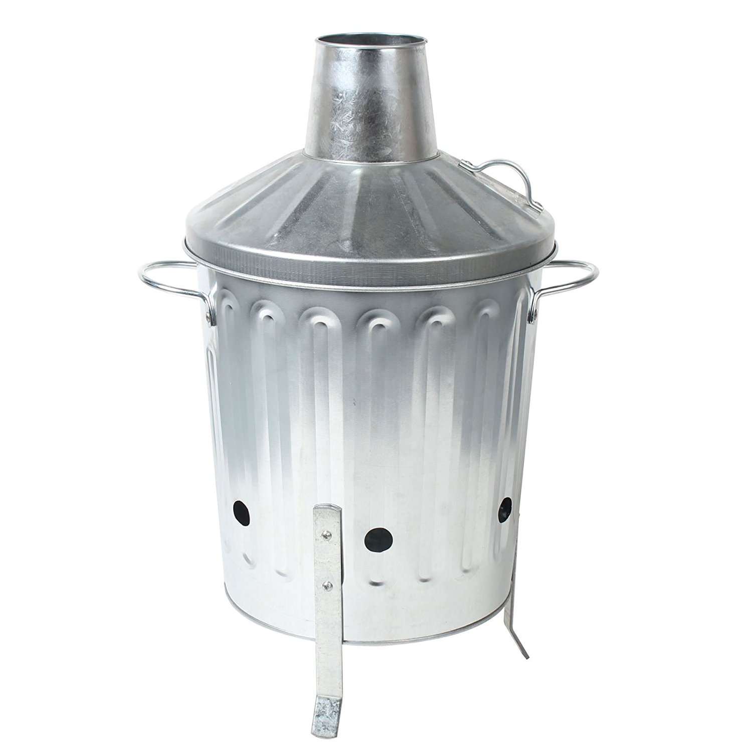 CrazyGadget Small Medium Large Extra Large Galvanised Metal Incinerator Fire Burning Bin with Special Locking Lid (15 Litre) CrazyGadget®