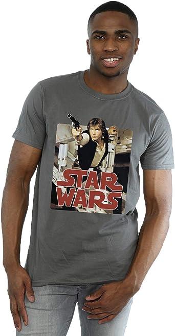 Star Wars hombre Han Solo Shooting Camiseta: Amazon.es: Ropa y accesorios