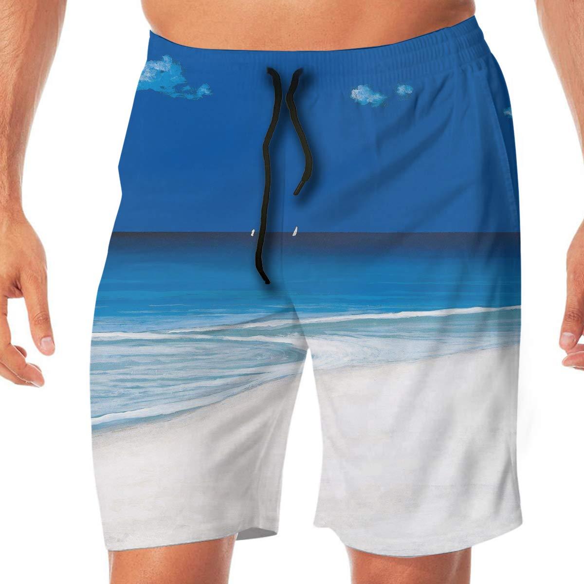 Mens Swim Trunks Quick Dry Ocean Nautical Tropical Island Beach Beach Board Shorts Bathing Suits with Pockets