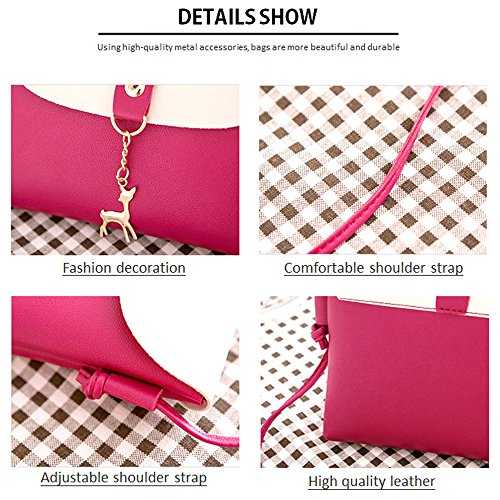 Small Crossbody Purse for Women With Pendant,PU Leather Crossbody Bag With Strap Cell Phone Bag for Girl,Red by Lanling (Image #5)