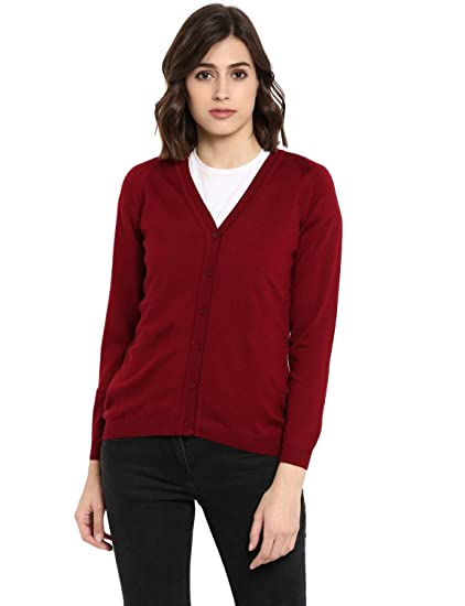 3005a14c07a Monte Carlo Women s Maroon Solid Wool V-Neck Cardigan (BBAPLMC62236 XXL Red)