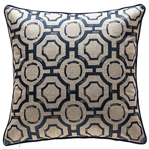 TINA'S HOME Embroidery Linen Distressed Geometric Decorative Throw Pillows | Toss Pillows Living Room Couch Sofa Bed Decor (20 x 20 inches, Navy)