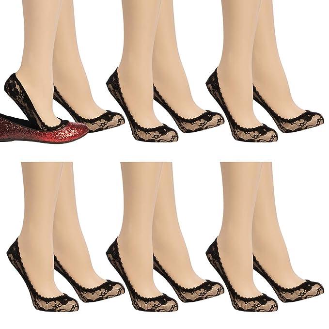 Anne Klein (6 Pack) Cute No Show Liner Socks Floral Lace Footie Socks Women Low Cut Ladies Socks best no-show women's socks