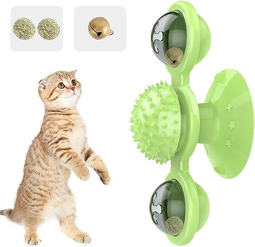 Pawaboo Juguete para Gatos, Giratorio Interactivo para Gatos, Juguetes Mascota Molino de Viento Burlas Rasguño para el Cabello Masaje para Molares con Bolas de Menta - Verde: Amazon.es: Productos para mascotas