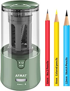 AFMAT Electric Pencil Sharpener, Pencil Sharpener for Colored Pencils, Auto Stop, Super Sharp & Fast, Electric Pencil Sharpener Plug in for 6-12mm No.2/Colored Pencils/Office/Home-Green