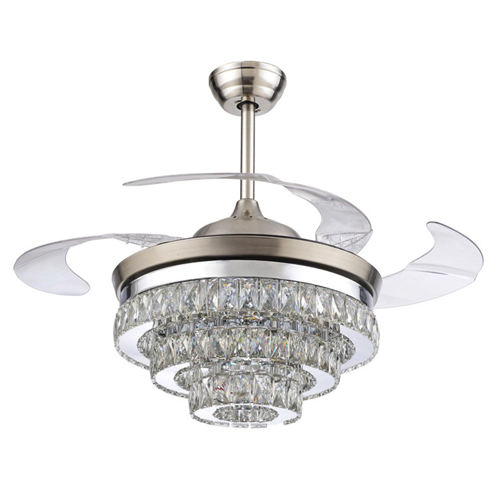 Rs Lighting European Crystal Ceiling Fan Light Kit 42 Inch With Retractable Blades And Remote Control Silent Fan Chandelier For Indoor Living Bedroom