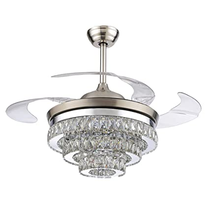 Rs lighting european crystal ceiling fan 42 inch with retractable four blades and remote control