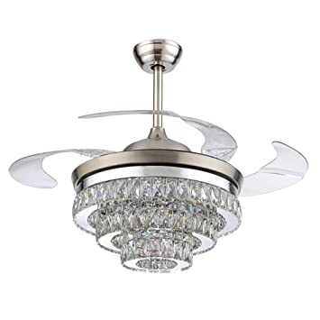 RS Lighting European Crystal Ceiling Fan-42 inch with Retractable ...