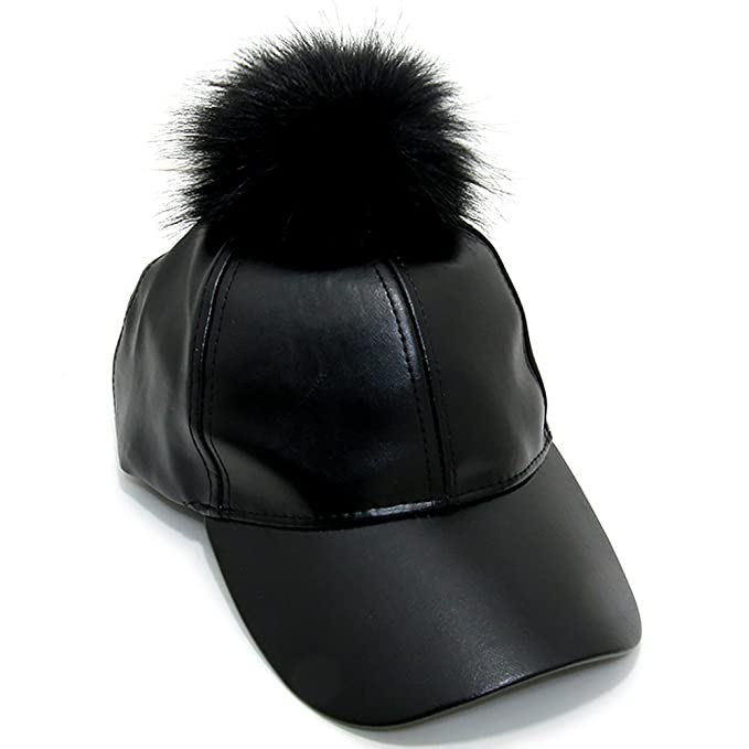 women leather fur pom adjustable baseball cap black amazon clothing store kangol hat furgora furry bcbg faux
