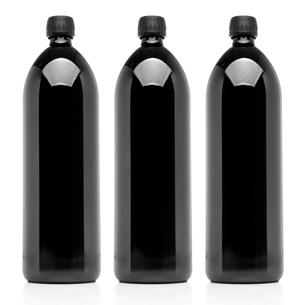 Infinity Jars 1 Liter (34 fl oz) Round Ultraviolet Large Glass Water Bottle 3-Pack