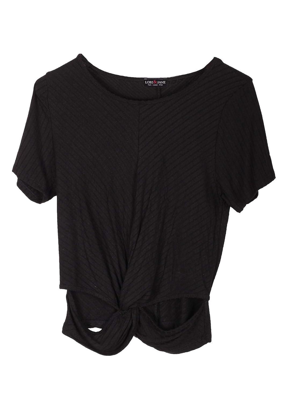 Lori /& Jane Big Girls Black Short Sleeved Elastic Trendy Blouse 12