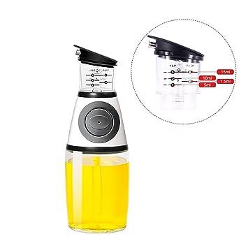 Dispensador de aceite de oliva, onza botella de cristal para cocina con boquilla de goteo